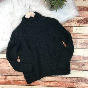 Loft green fuzzy mock neck sweater